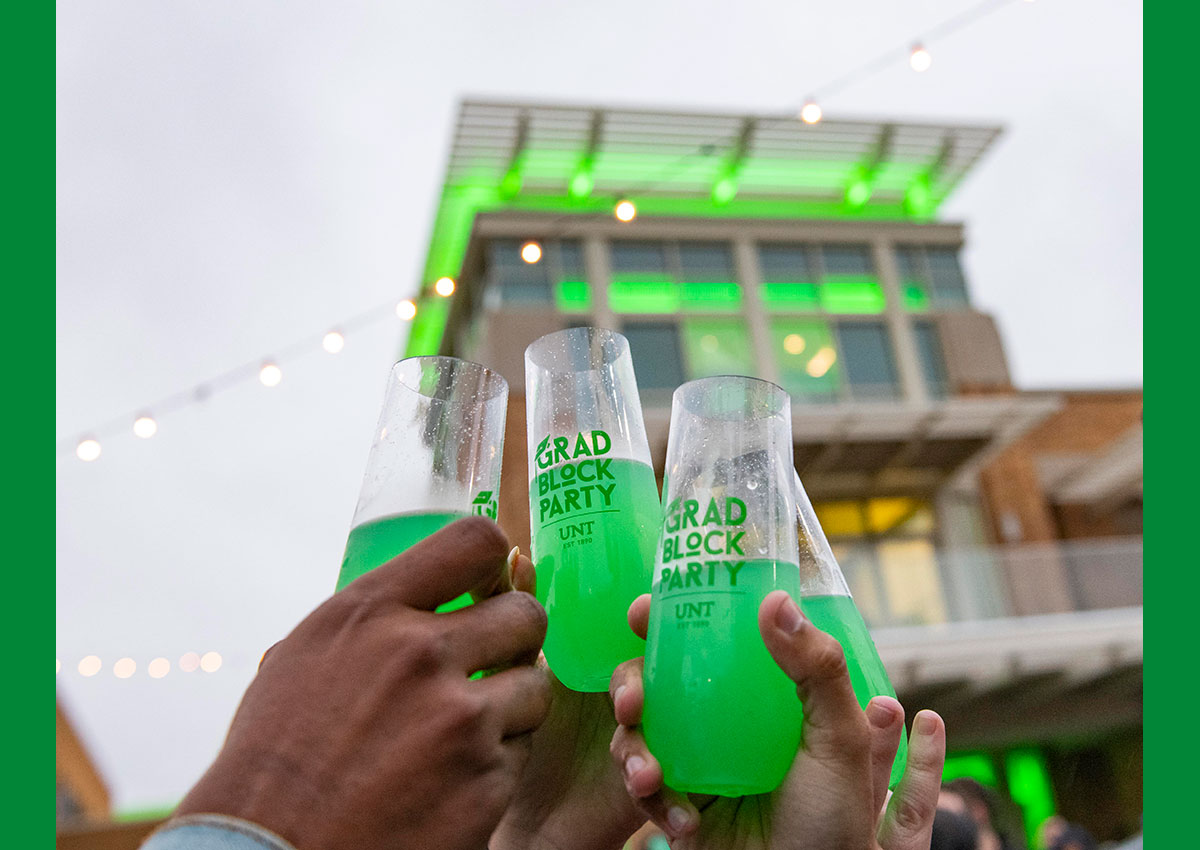 Students toasting drinks at 2019 Block Party