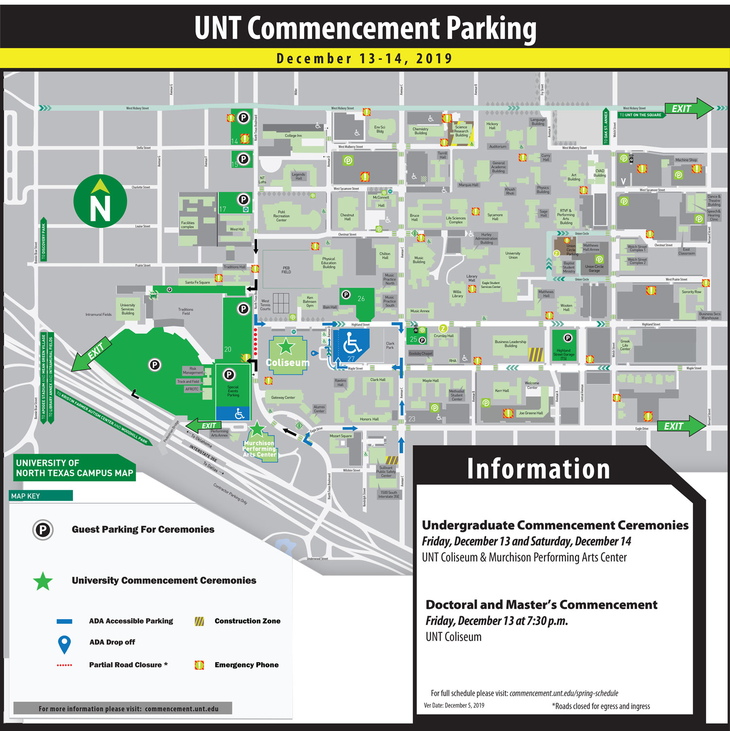 Fall 2019 UNT Commencement Parking Map