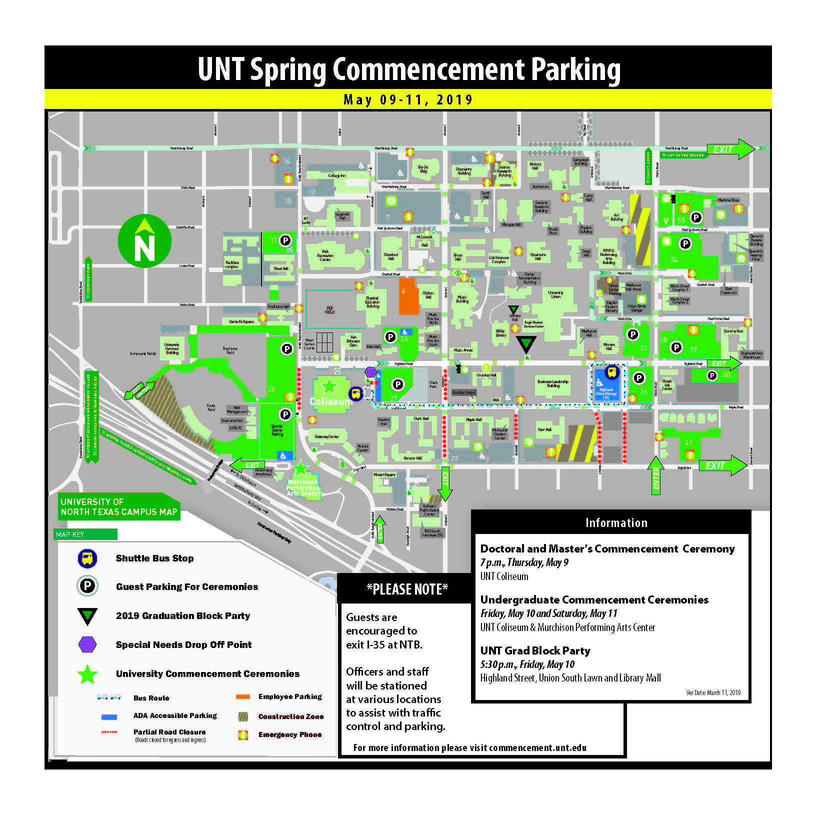 Maps | Commencement Scf Denton Campus Map on