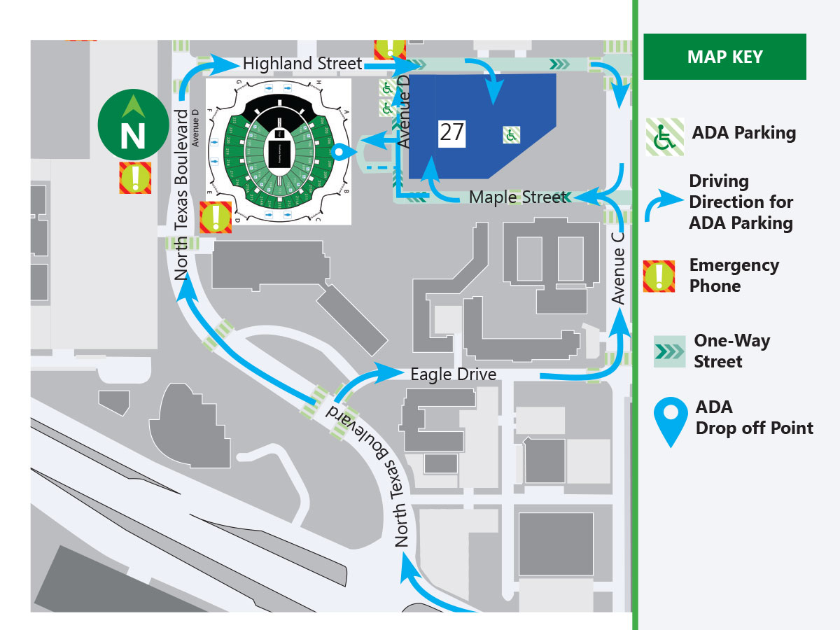 Fall 2019 UNT Commencement ADA Parking Map