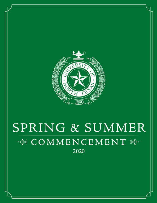 Spring & Summer 2020 Commencement program cover